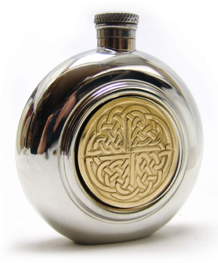 Celtic Golden Kells Cross Knot Brass Pewter Hip Flask 6oz  - Engraved